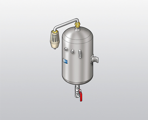Condensate vessel with silencer for wall mounting