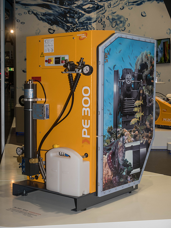 The new PE-MVE breathing air compressor in striking aquarium design