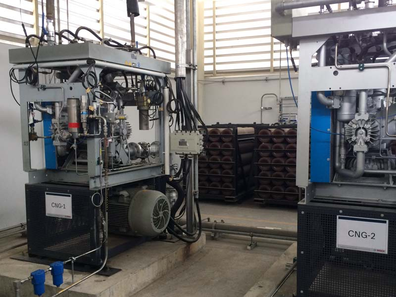 Supplying gas to an engine test rig with two BAUER CTA 23.2 compressors
