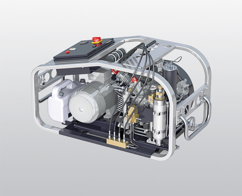 BAUER MARINER 320-E breathing air compressor with electric motor and control, rear view
