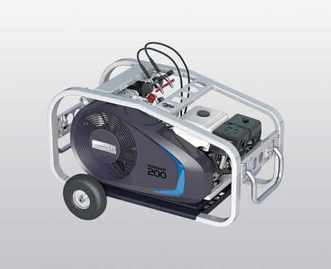 BAUER MARINER 200-B high-pressure compressor with petrol engine, with trolley