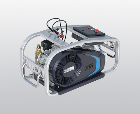 BAUER MARINER 200-E breathing air compressor with electric motor and control