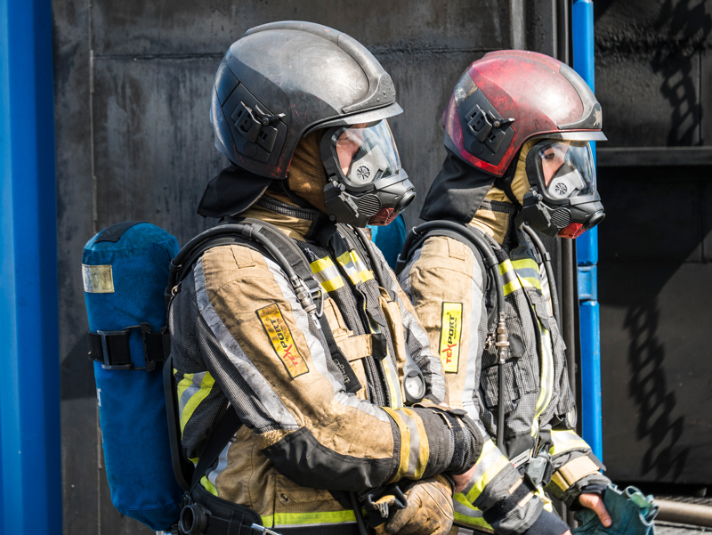 The firefighting team prepares for action