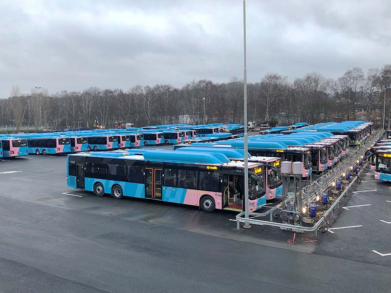 Five high-powered BAUER CFS 26.10 compressor systems refuel up to 120 buses a day