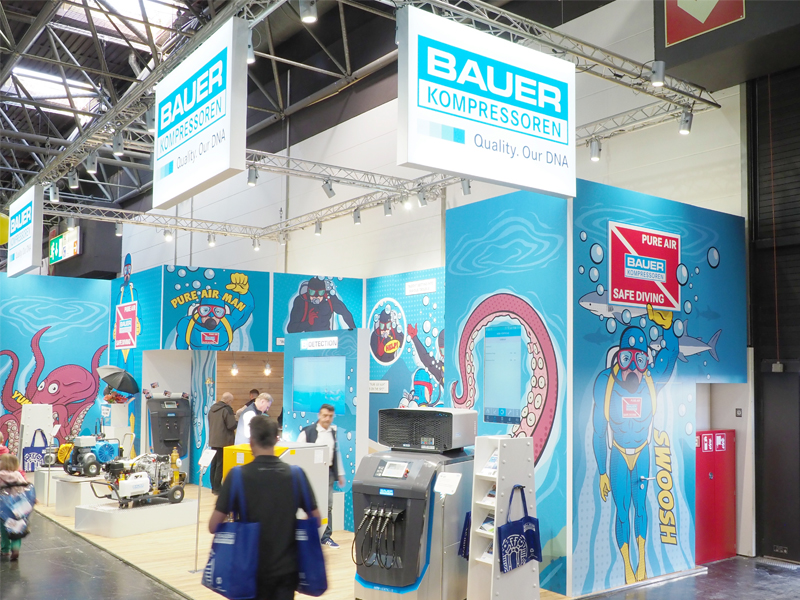 Breathing air quality was the main theme of the BAUER exhibition stand in eye-catching comic design