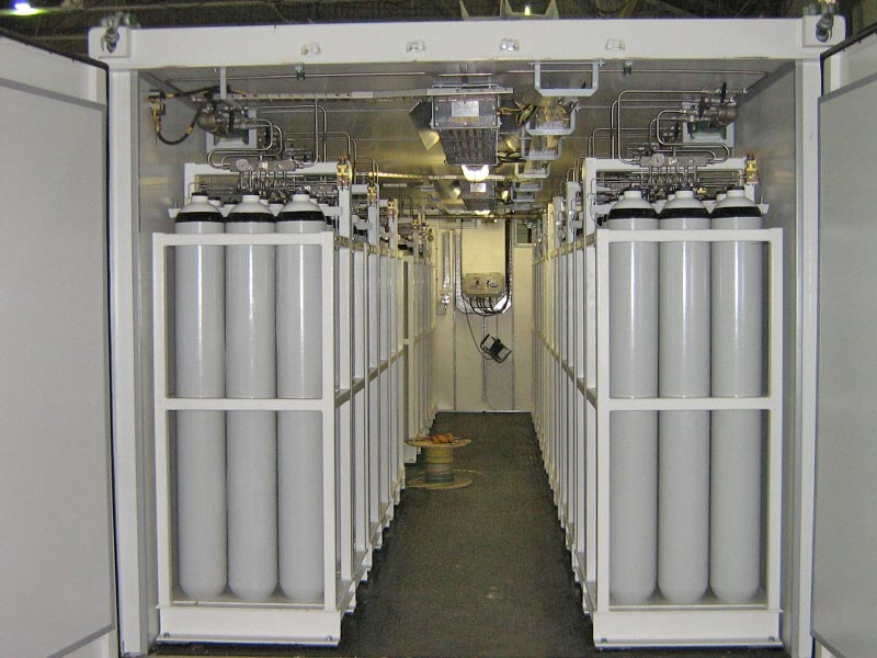 Vast racks of storage cylinders ensure permanent availability of breathing air